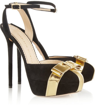 Charlotte Olympia Festive suede and metallic leather pumps
