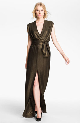 L'Agence Tie Waist Draped Gown