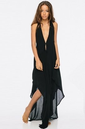 Indah Imani Halter Maxi in Black $172 thestylecure.com