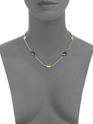 Gurhan 24K Gold & Dark Sterling Silver Lentil Station Necklace/Short