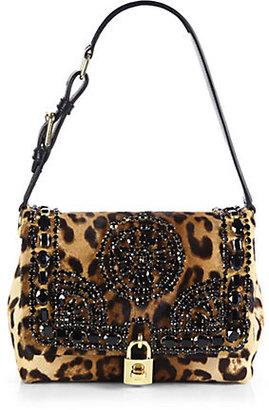 Dolce & Gabbana Embellished Leopard-Print Calf Hair Shoulder Bag