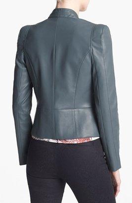 Mural Strong Shoulder Faux Leather Jacket