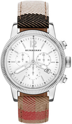 Burberry Watch, Women's Swiss Chronograph House Check Strap 42mm BU7820 $695 thestylecure.com