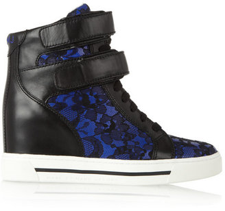 Marc by Marc Jacobs Leather and lace wedge high-top sneakers