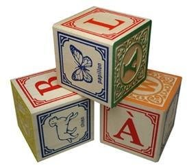 Green Baby Foreign Alphabet Blocks- French