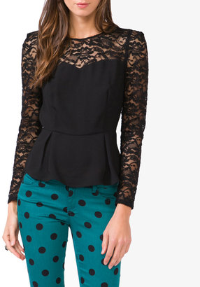 Forever 21 Sweetheart Lace Peplum Top
