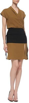 Ralph Rucci Yoked Asymmetric Slit Skirt, Black/Petrol