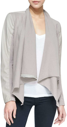 Blank Private Practice Faux-Leather/Ponte Jacket, Taupe