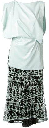Vionnet contrast draped dress