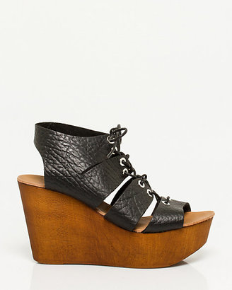 Le Château Italian-Made Leather Lace-Up Wedge
