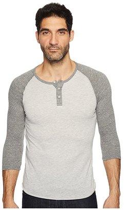 Alternative 3/4 Raglan Henley (Eco Black) Men's Long Sleeve Pullover