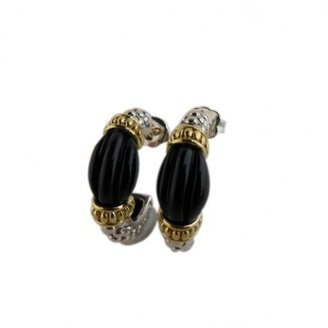 Lagos excellent (EX Sterling Silver and 18K Gold Black Agate Caviar Ruche Semi Hoop Earrings
