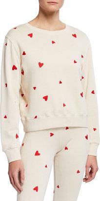 Monrow Allover Embroidered Heart Sweatshirt