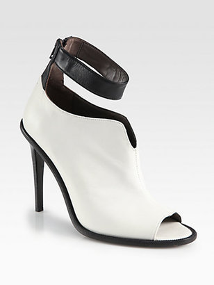 Tibi Abbie Bicolor Leather Ankle Boots