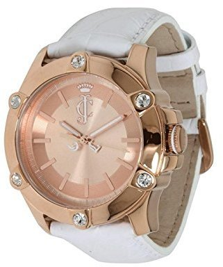 Juicy Couture Women's 1900939 Surfside Rose Gold Case White Leather Strap Watch $125 thestylecure.com