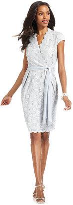 Alex Evenings Petite Dress, Short-Sleeve Lace Sequin