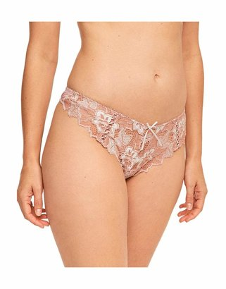 Lepel Womens Fiore Lace Thong Size 8 in Rose Gold/Ivory