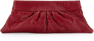 Lauren Merkin Louise Stamped Leather Clutch Bag, Red