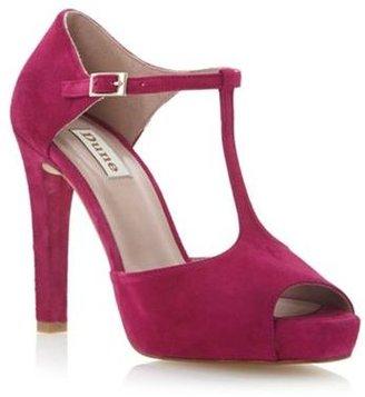 Dune Pink suede darleen peep toe t bar open court shoe