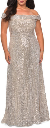 La Femme Plus Size Off-the-Shoulder Sequined Gown