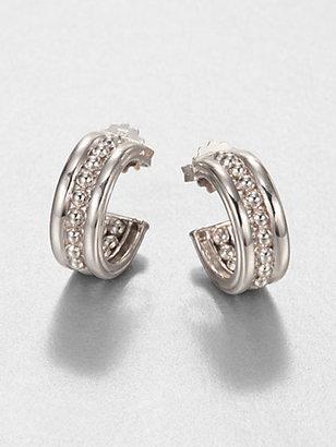 Judith Ripka Bead-Textured Sterling Silver Huggie Earrings
