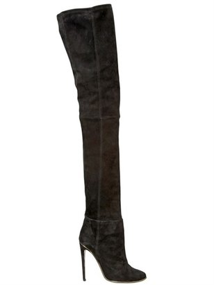 Balmain 100mm Over The Knee Stretch Suede Boots