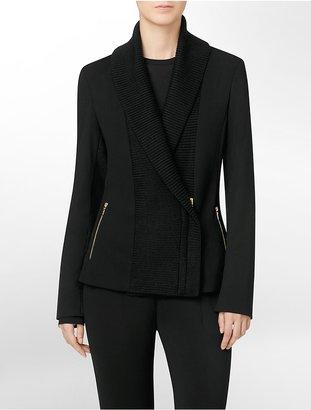Calvin Klein Shawl Collar Zip Detail Blazer Style Jacket