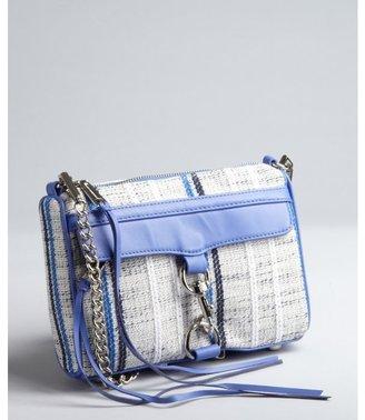 Rebecca Minkoff grey tweed and periwinkle leather chain strap 'Mini Mac' shoulder bag