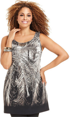 Style&Co. Plus Size Top, Sleeveless Printed Tunic