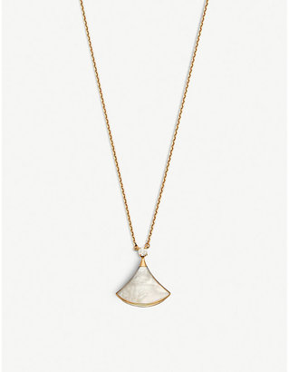 Bvlgari Divas' Dream 18kt pink-gold with mother of pearl and pavé diamonds necklace