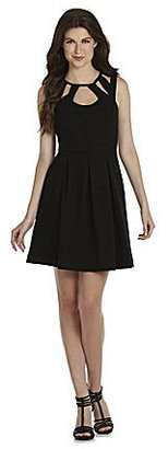 Betsey Johnson Cutout Neckline Fit-and-Flare Dress