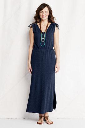 Lands' End Women's Petite Slub French Terry Tie Shoulder Maxi Dress