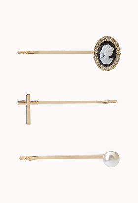 Forever 21 Faux Pearl & Cross Hair Pin Set