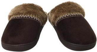 Isotoner Women's Microsuede Faux-Fur Chukka Clog Slipper
