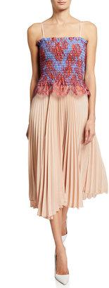 Loyd/Ford Lace Bustier Pleated Midi Dress