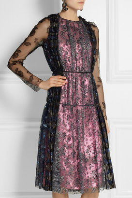 Lanvin Glittered tulle and lamé dress