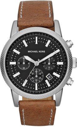 Michael Kors Men's Chronograph Scout Brown Leather Strap Watch 43mm MK8309