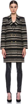 Jenni Kayne Metallic Stripe Acrylic-Blend Coat in Black & White & Gold