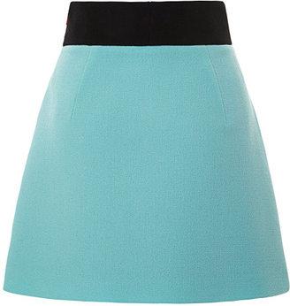 Fausto Puglisi Color-Blocked Wool Crepe Mini Skirt