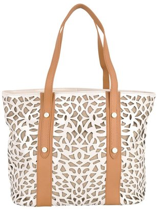 Sondra Roberts Leather and Linen Tote