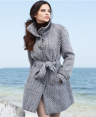 Kenneth Cole Reaction Coat, Patterned Wool-Blend Trench Coat