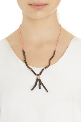 Dezso by Sara Beltran Coral & Polki Diamond Mexican Tassel Necklace