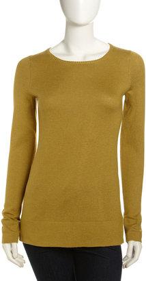 Isda & Co Split-Hem Pullover Sweater, Chartreuse