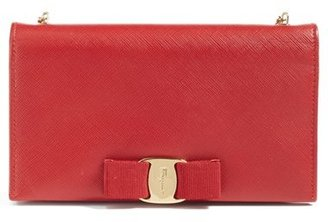 Women's Salavatore Ferragamo 'Miss Vara' Leather Wallet On A Chain - Red $760 thestylecure.com