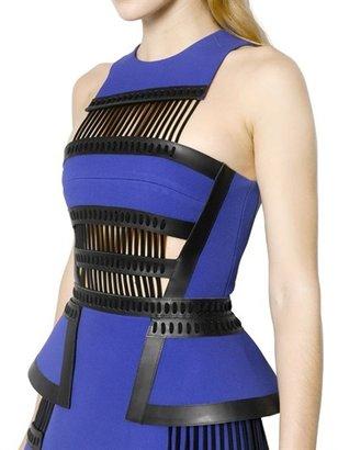 David Koma Leather & Crepe Dress