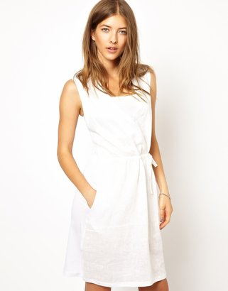 Shae Sleeveless Linen Blend Drawstring Dress