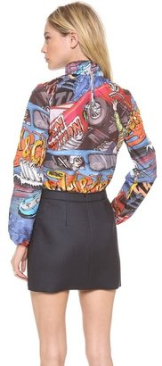 J.W.Anderson Car Print Ruched Neck Top