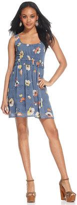 Bar III Dress, Sleeveless Scoop-Neck Floral-Print A-Line