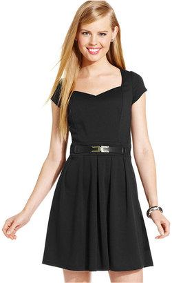 Amy Byer Juniors Dress, Cap Sleeve Pleated Cutout A-Line