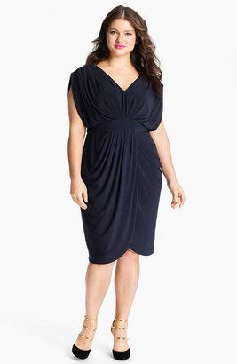 Suzi Chin for Maggy Boutique V-Neck Faux Wrap Jersey Dress (Plus)